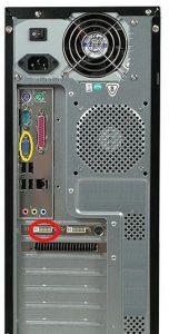 Obudowa komputera  BackPanelem (żółty - port VGA zintegrowany) oraz portami karty graficznej DVI czerwony (dodatkowa karta)
