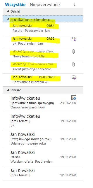 Outlook 2016_Widok po przełączeniu na widok konwersacji