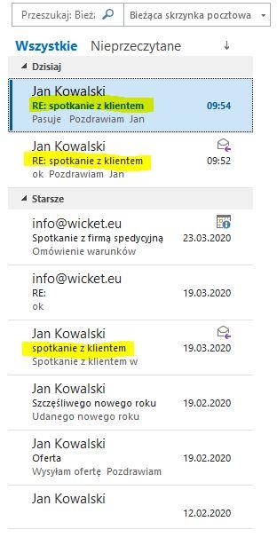 Outlook 2016_Widok przed przełączeniem na widok konwersacji